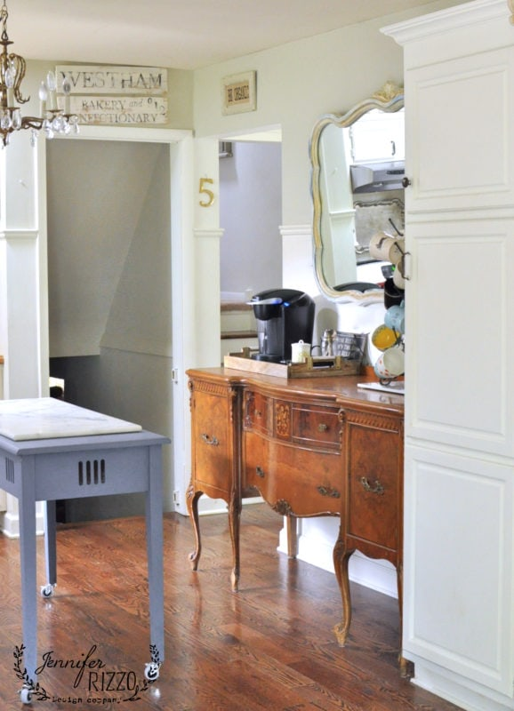 Vintage buffet in kitchen