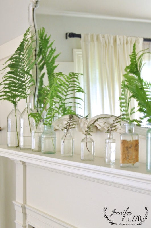 Vintage mantel with Fern mixture for display