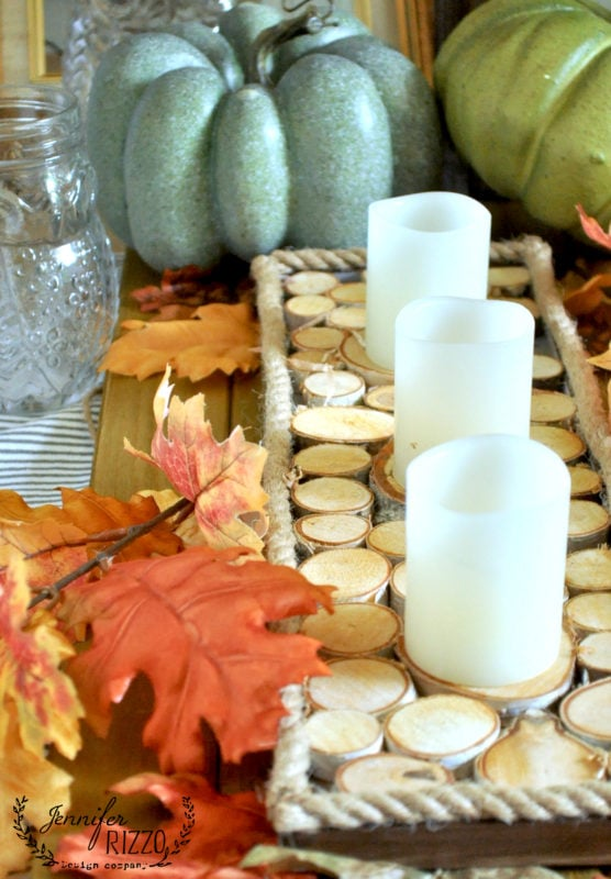 Fall wood slice accent tray with rope trim