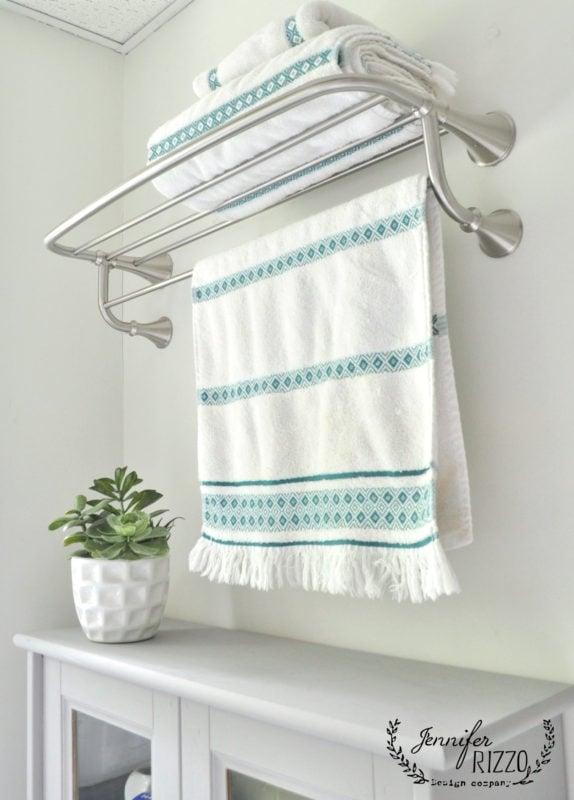 Boho towels on hotel rack