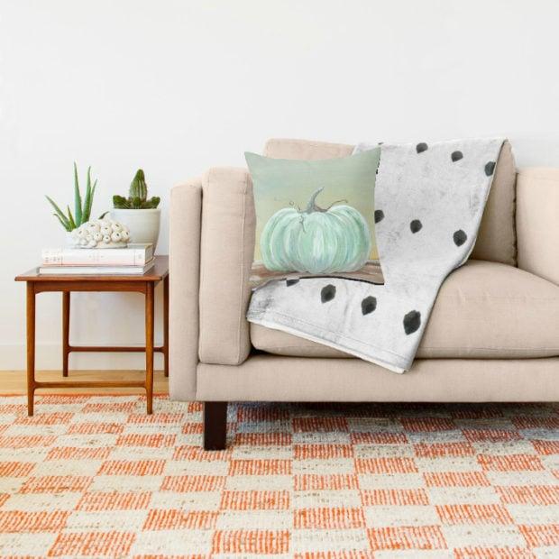 Boho dot blanket and pumpkin pillow