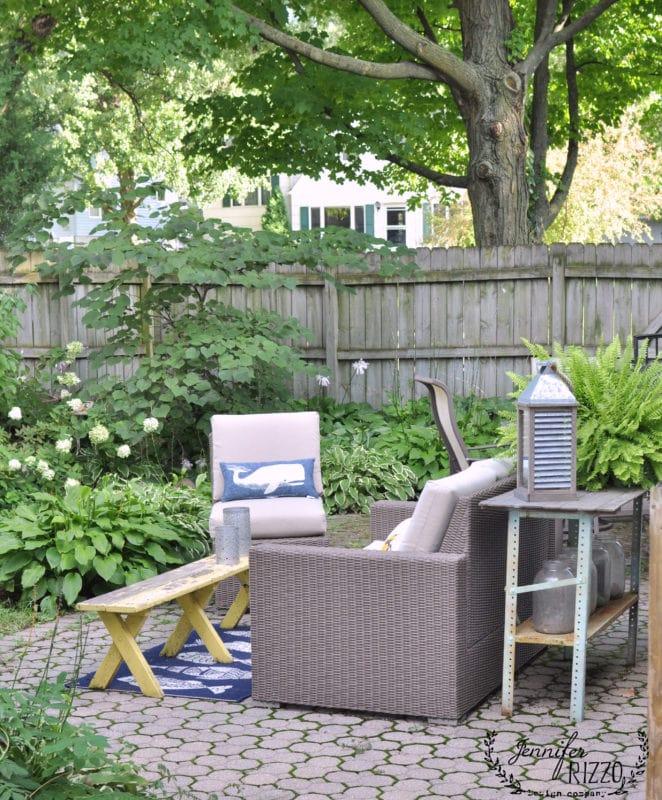 Brick patio and backyard area