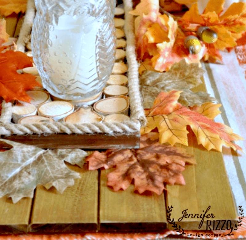 DIY wood slice accent tray