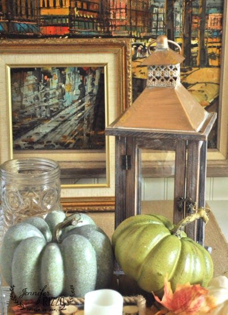 Fall decor and copper lanterns