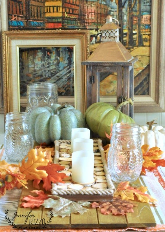 Fall decor with wood slices and Fall accent decor
