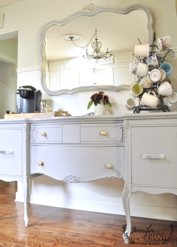 painted buffet in kitchen