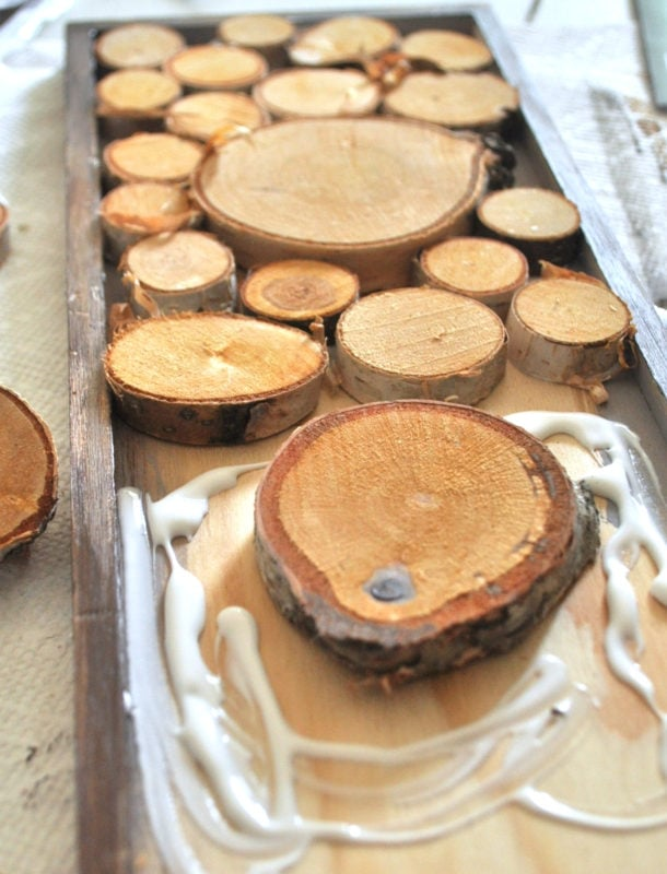 Place wood slices for a fall accent tray