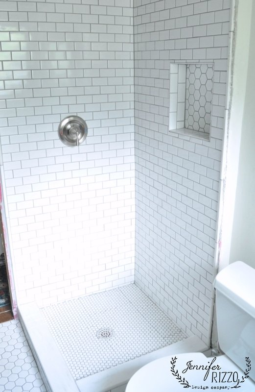Tile shower with mixed white tiles - Jennifer Rizzo