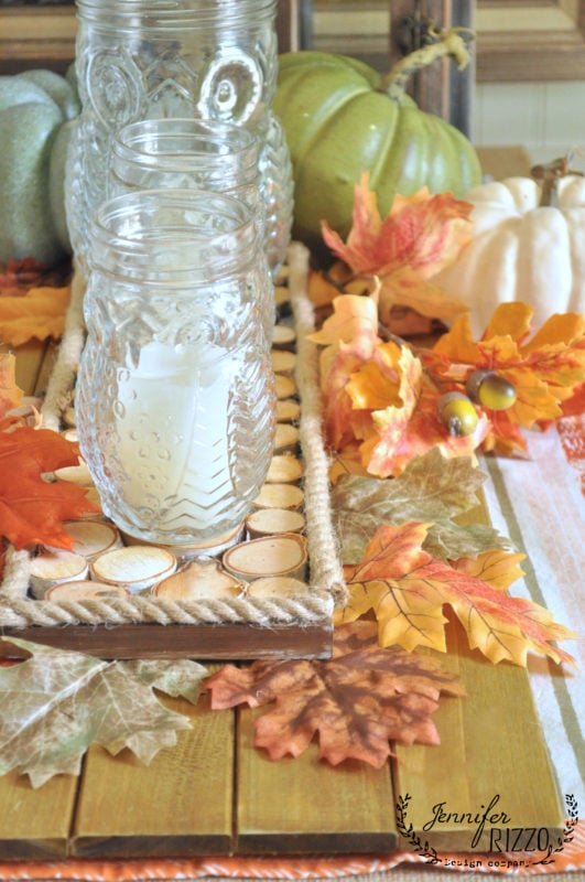 Wood slice accent tray with fall decor