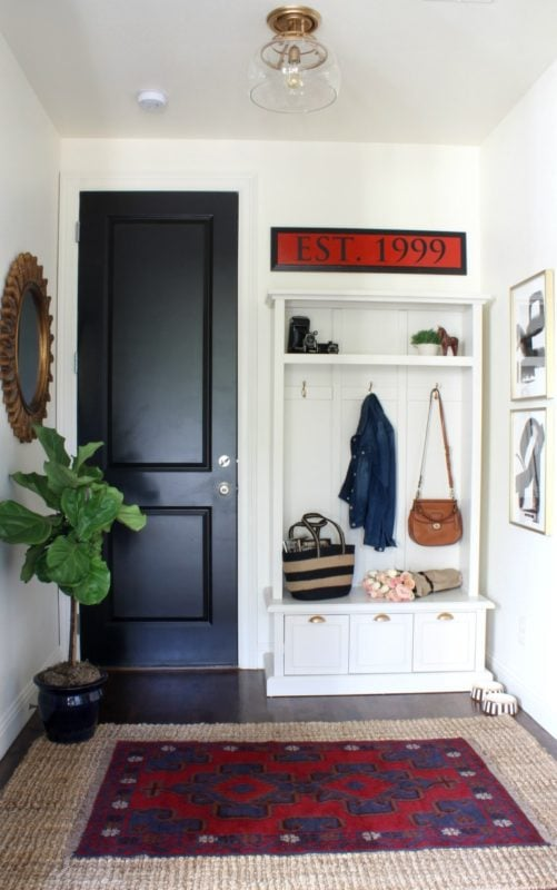 Mudroom makeover with Sharon Joyce interiors and Killim rug