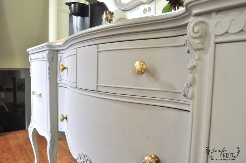 Painted buffet with new gold handles