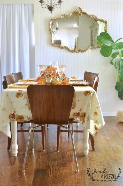 MCM modern chairs in fall tablescape