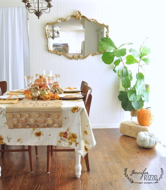 boho metallic copper and gold inspired fall dining room