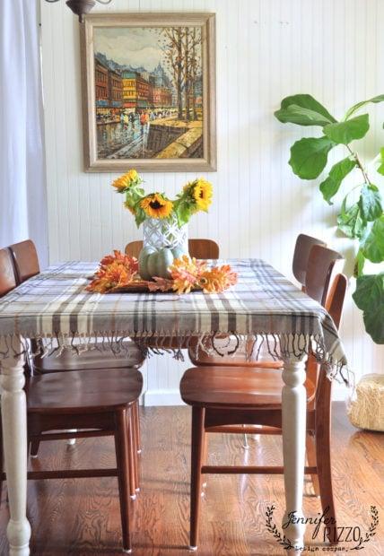 Fall table decor blanket as table cloth