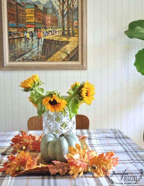 Sunflowers in a fall tablescape