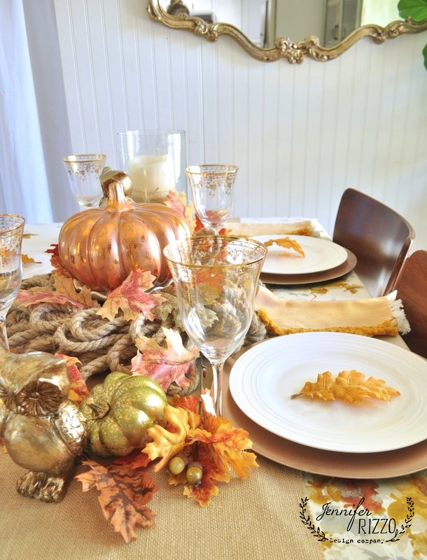 Copper and gold inspired fall tablescape