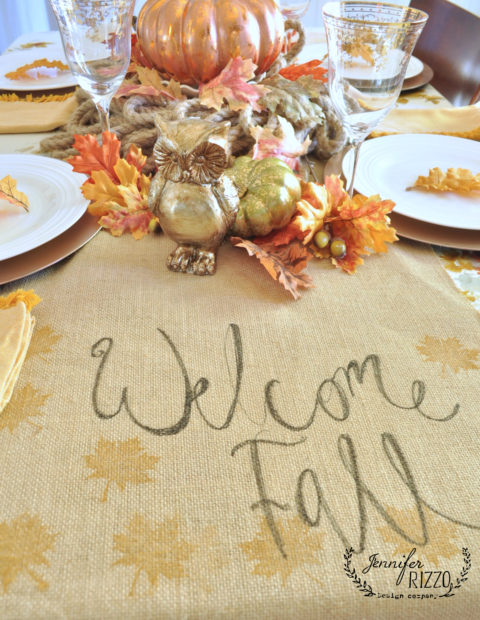 handmade welcome fall table runner tablescape