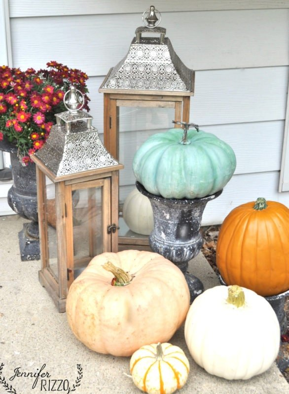 Mix of fake and real pumpkins for fall..fools the critters!