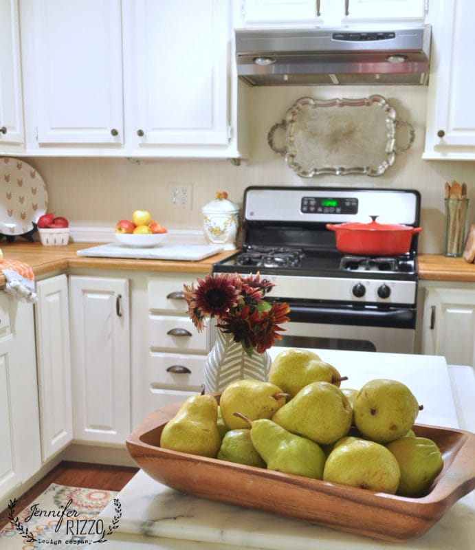 WHite cabients wood counter tops on Fall 2016 kitchen tour