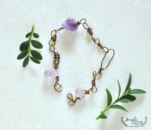 DIy wire wrapped bracelt, learn in the Modern Bohemian ecourse by Jennifer Rizzo
