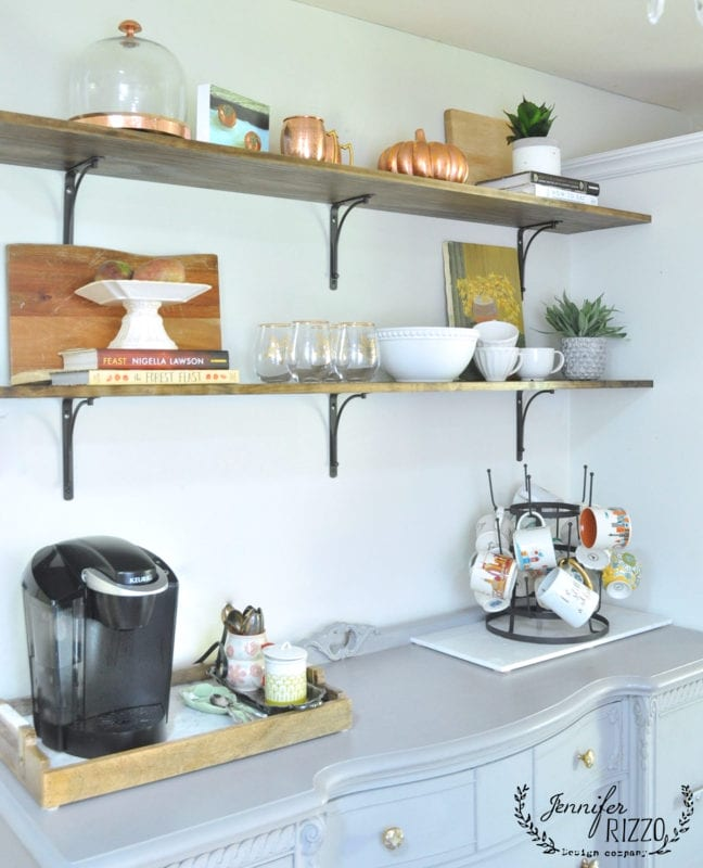 easy open shelving in the kitchen