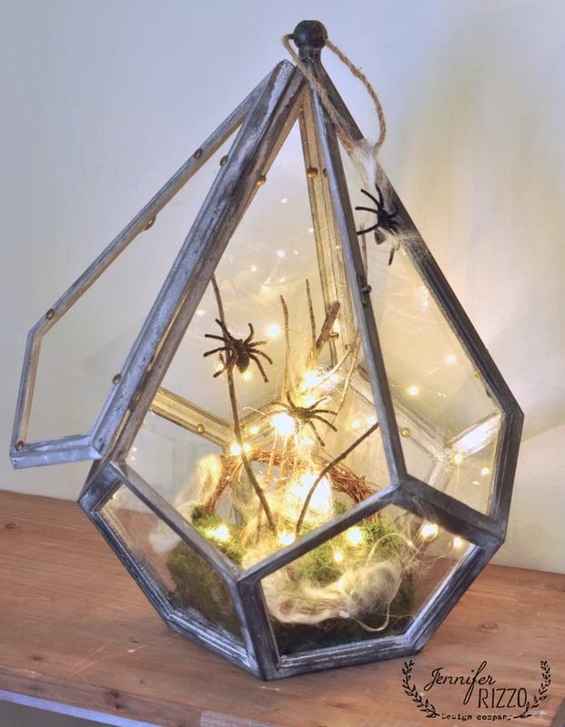 Scary spider Halloween terrarium, or the NOPE terrarium