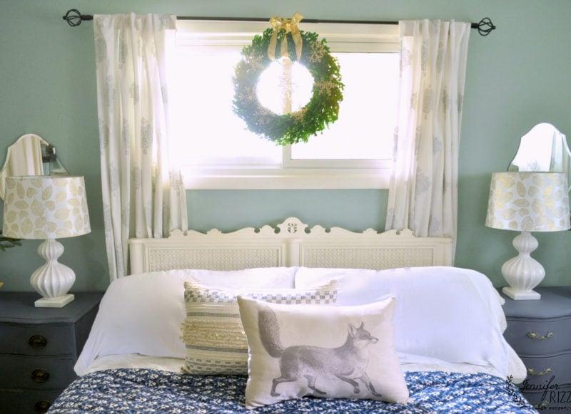fun pillows and a wreath for winter decor