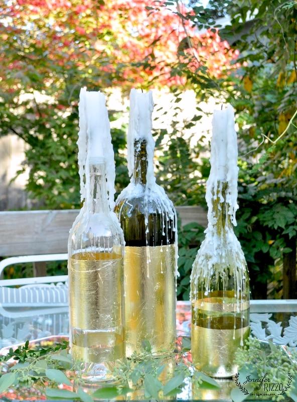 Gold leaf wine bottles upcycle