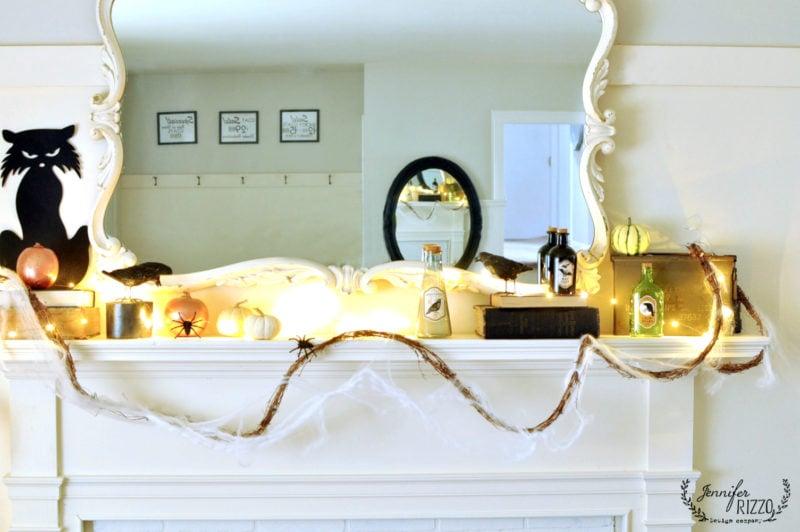 halloween mantel decor and fairy lights