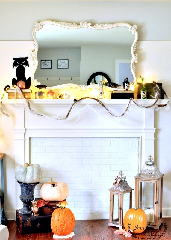 halloween mantel decor and faux fireplace - Halloween Mantel Decor