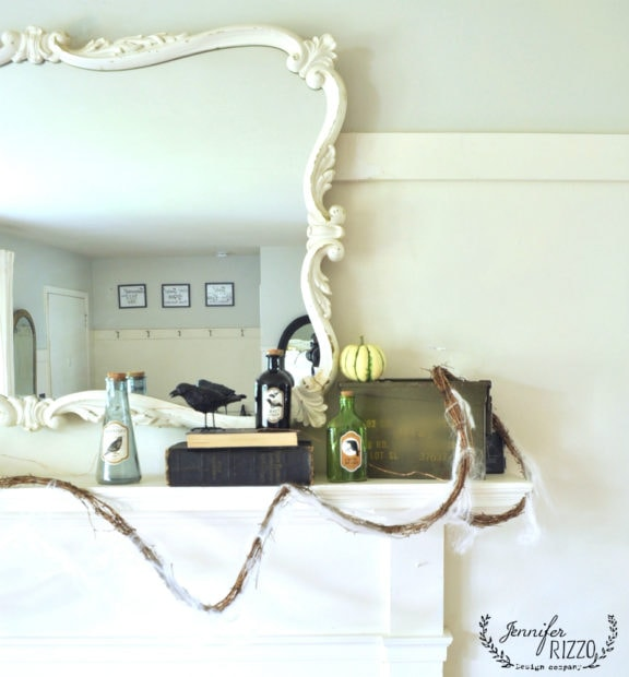 Mantel decor with grapevine wreath and fairy lights