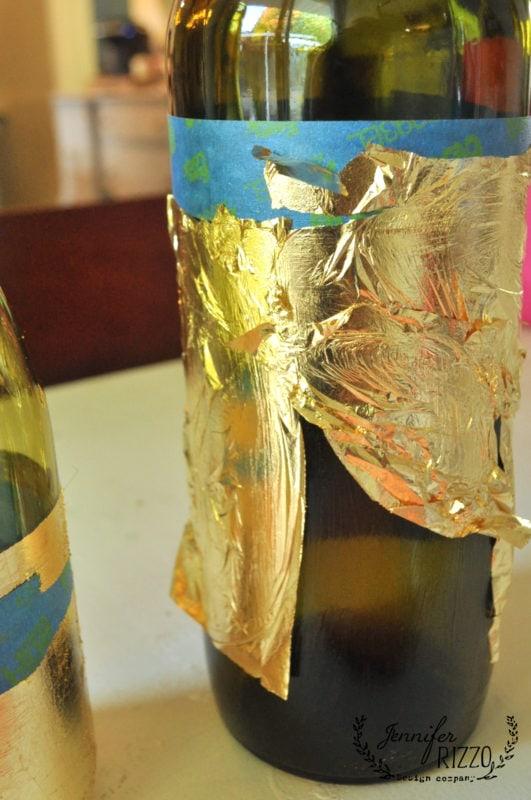 how to gold leaf on wine bottles