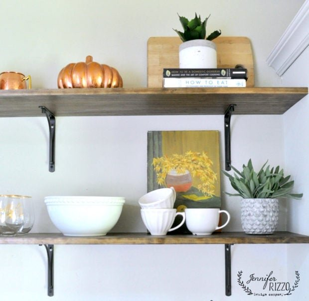 Kitchen open shelving in a cottage house