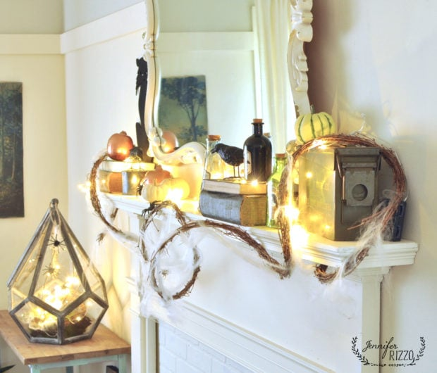 Faux mantel decorated for Halloween