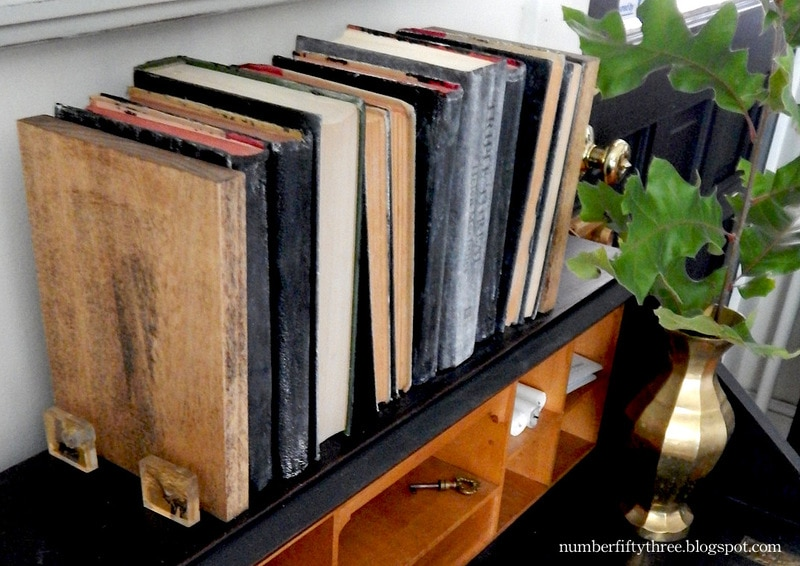 Modern rustic bookends made with furniture knobs