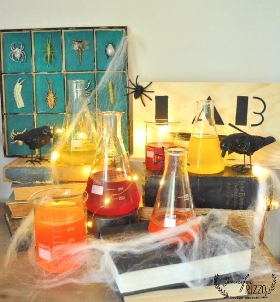 Creepy Halloween laboratory with flasks and Jello