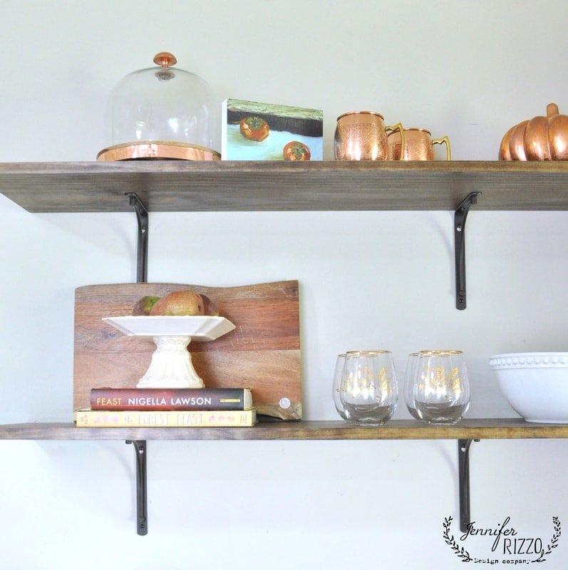 Open kitchen shelving in our home