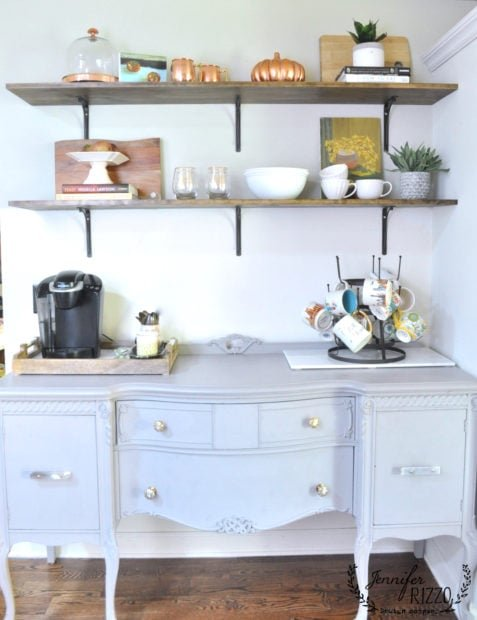 painted buffet wth open shelving in the kitchen with other simple and budget friendly home ideas
