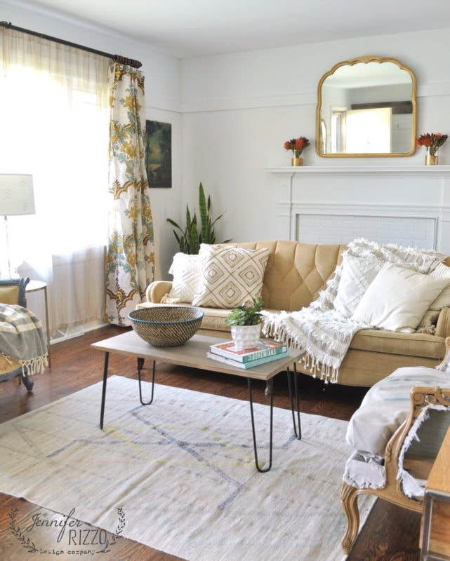 White painted walls and boho decor