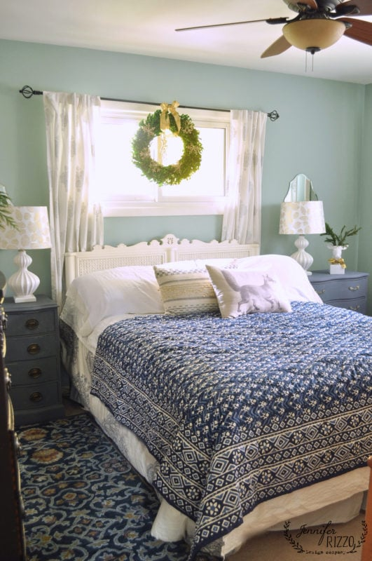 SImple holiday bedroom decorating with a wreath and a few holiday touches