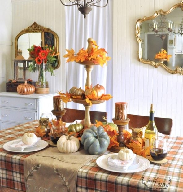 Thanksgiving tablescape with metallics