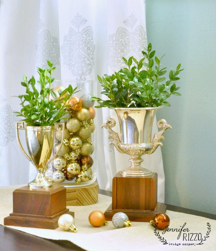VIntage trophies as vases for boxwood