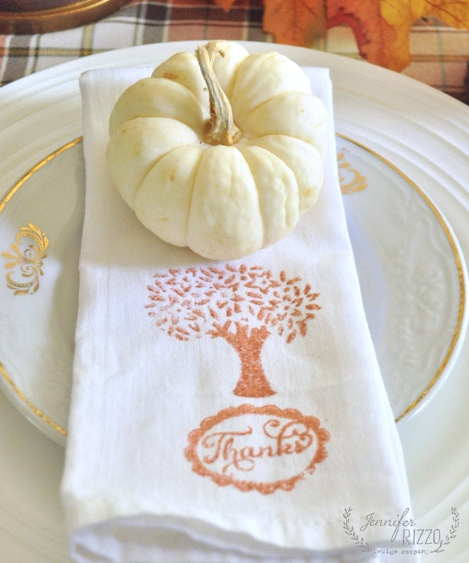 handstamped napkins with metallics paint for Thanksgiving