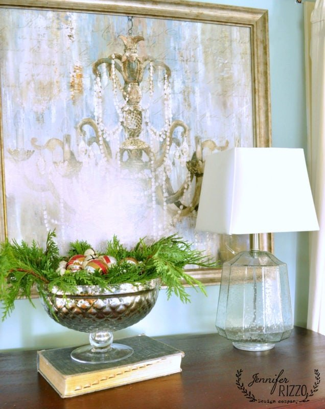 Love mercury glass and ornaments with greenery