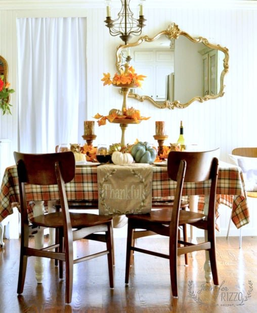 Tablescape for Thanksgiving with metallics