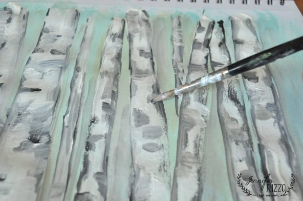 Add gray paint line for how to paint a birch tree