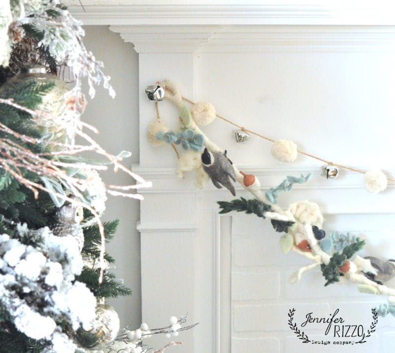 Felted Chickadee garland by Anthropologie and pom pom garland