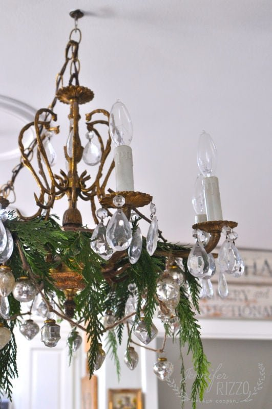 Greenery added to chandelier