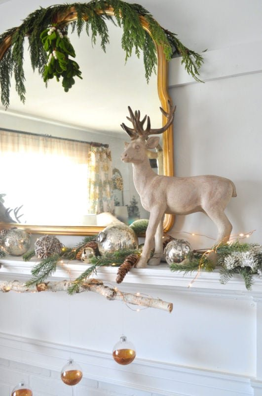 deer on modern rustic mantel