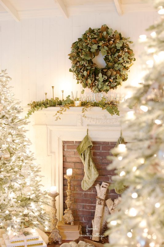 French Country cottage fireplace and rustic decor